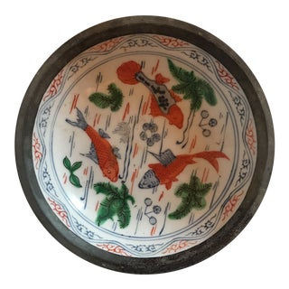 Pewter Clad Chinese Porcelain Bowl For Sale
