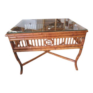 Tortoise Bamboo Side Table For Sale