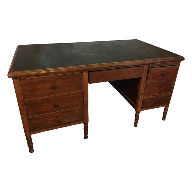 Arts & Crafts Slate-Top Wood Desk For Sale