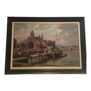 Amsterdam Harbor Oil Painting by W Klinkenberg