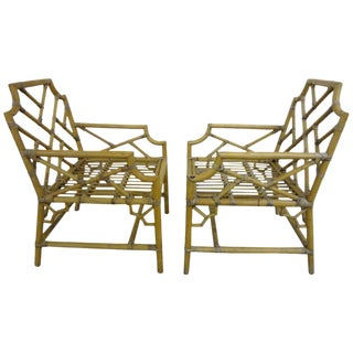Pair of Bamboo Chippendale Armchairs For Sale
