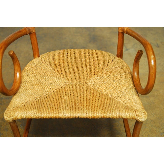French Art Deco Style Rattan Armchairs - Pair - Image 5 of 10