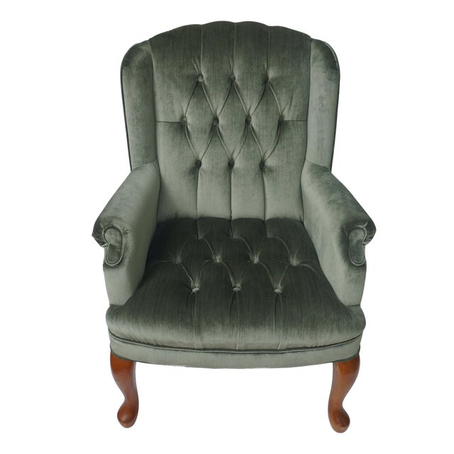 Brilliant 1960S Vintage Tufted Velvet Wingback Sage Green Chair Gmtry Best Dining Table And Chair Ideas Images Gmtryco