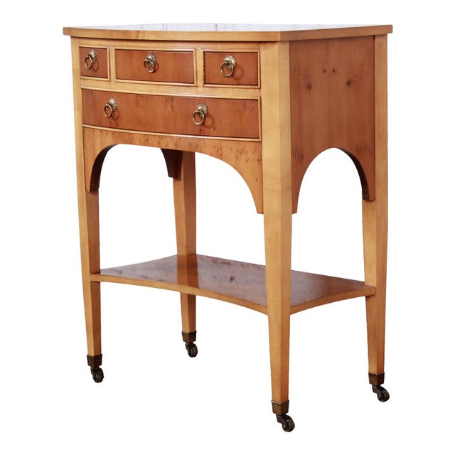 Baker Furniture Neoclassical Burl Wood Entry Table For Sale - Image 13 of 13