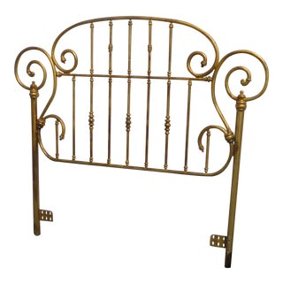 Vintage French Country Gold Metal Queen Headboard