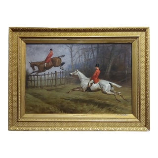 Basil Nightingale -Gentlemen's in Redcoat on Horse Timber Jumping-Oil Painting For Sale