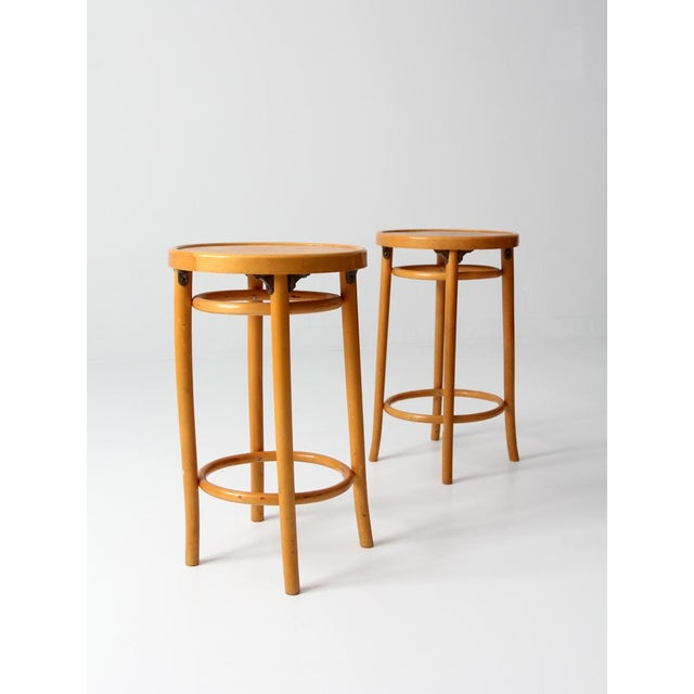 Mid-Century Bentwood Stools - A Pair For Sale - Image 6 of 8