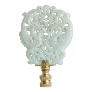 Lacy Chinoiserie Stone Lamp Finial For Sale