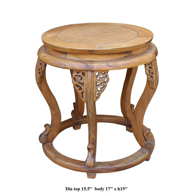 Chinese Round Curved Legs Wood Stool Table For Sale In San Francisco - Image 6 of 6