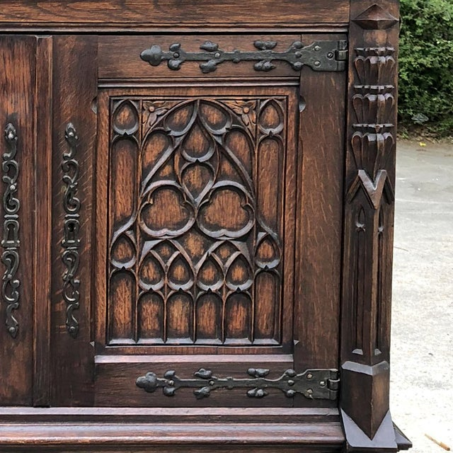 Antique French Gothic Cabinet For Sale - Image 9 of 12