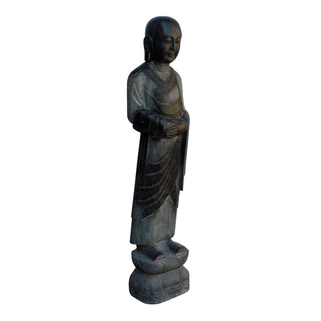Asian Chinese Black Gray Stone Carved Standing Monk Lohon Statue For Sale - Image 3 of 7