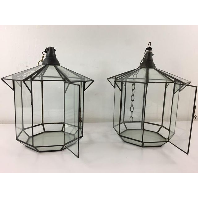 Boho Chic Moroccan Brass and Clear Glass Lantern For Sale - Image 3 of 7