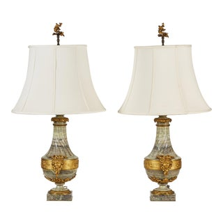 Pair of Large French Green Marble Lamps with Gilt Metal Mounts For Sale