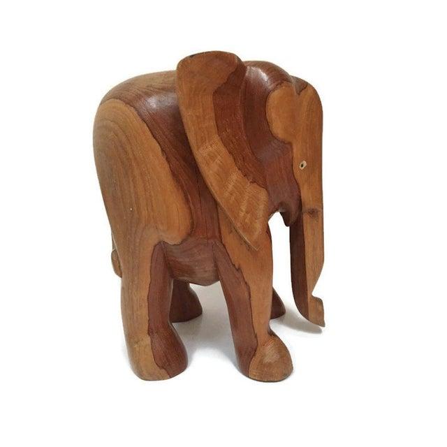 Vintage Carved Wood Elephant Pedestal Statue 11 Inch For Sale - Image 12 of 12