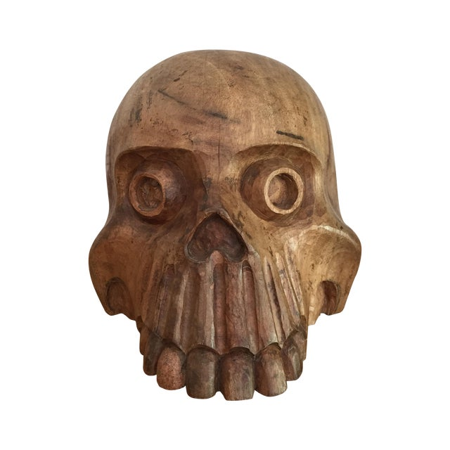 Vintage Paper Mache Mold Wood Skull - Image 1 of 8