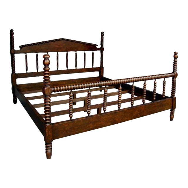 Custom Walnut Wood Bobbin Bed With Turned Spindle Head and Foot Boards For Sale
