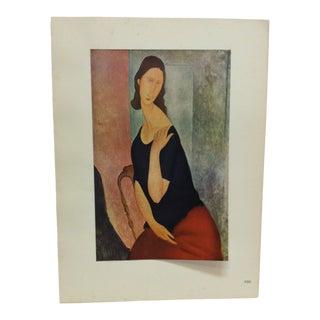 "1947 Vintage ""Portrait De Madame Hebuterne"" French Mounted Color Print For Sale"
