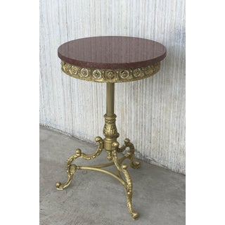 19th Spanish Bronze and Brass Gilted Side Table With Red Marble Top Preview