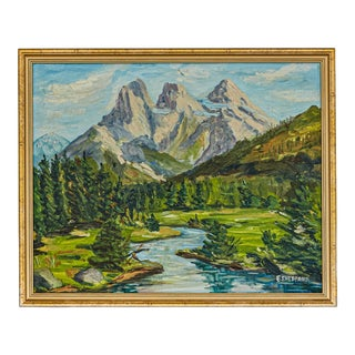 """1980s """"Three Sisters in the Cascade Range of Oregon"""" Mountain Landscape Oil Painting, Framed For Sale"""