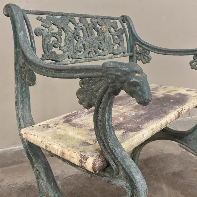 Metal Early 19th Century French Charles X Cast Iron Armchair For Sale - Image 7 of 11