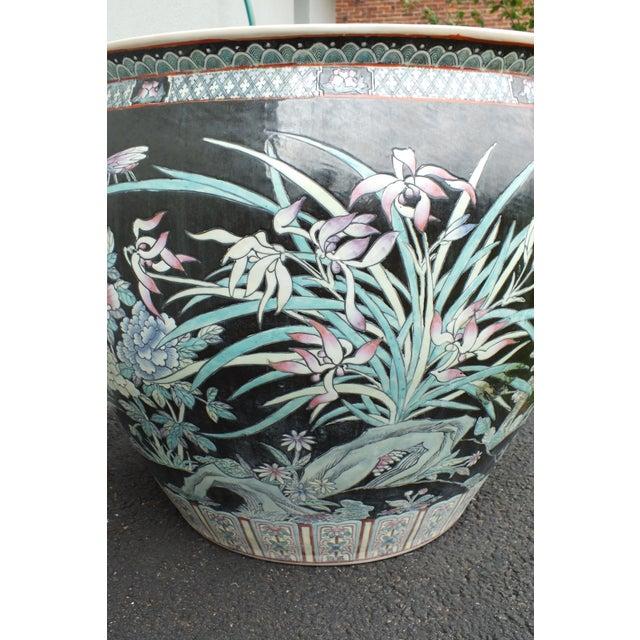 Ceramic Qianlong Chinese Famille Noir Fish Bowl Planter For Sale - Image 7 of 11