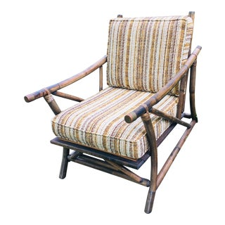 Vintage Bamboo and Brass Rustic Lounge Chair For Sale