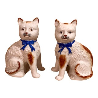 Calico Staffordshire Kitten Figurines - a Pair For Sale