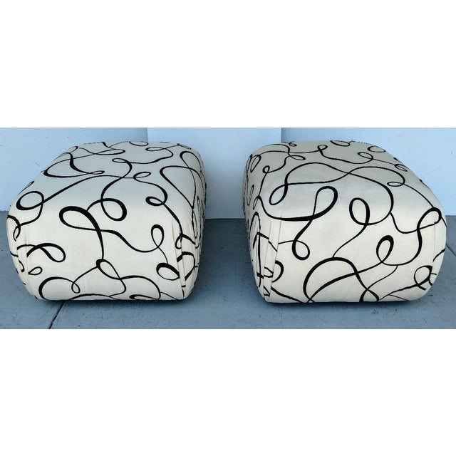 Black Pouf Ottomans, a Pair, Newly Re-Upholstered, Vintage For Sale - Image 8 of 8