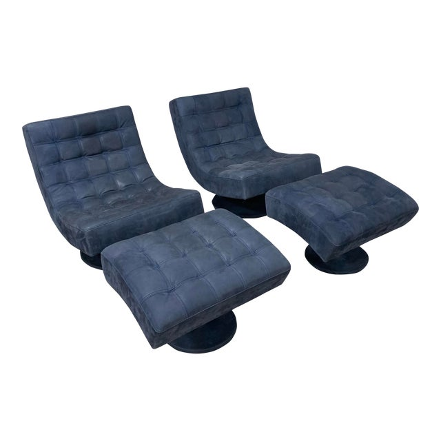 Post Modern Italian Leather Roche Bobois Swivel Lounge Chair and Ottoman For Sale