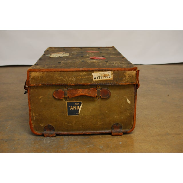 Antique Campaign Steamer Travel Trunk Luggage For Sale - Image 5 of 6
