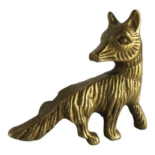 Solid Brass Fox Paperweight