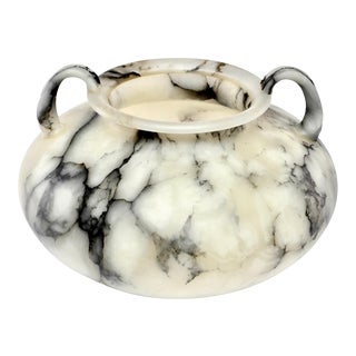 Large White Alabaster Vase With Handles and Gray Veining For Sale