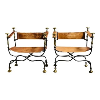 20th Century Renaissance Revival Iron Brass & Leather Arm Chair - a Pair