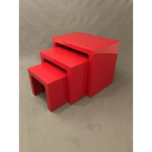 Mid Century Glossy Lacquered Red Waterfall End Tables- 3 Pieces For Sale - Image 13 of 13