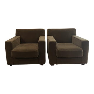 Early 21st Century Mohair Club Chairs- a Pair For Sale