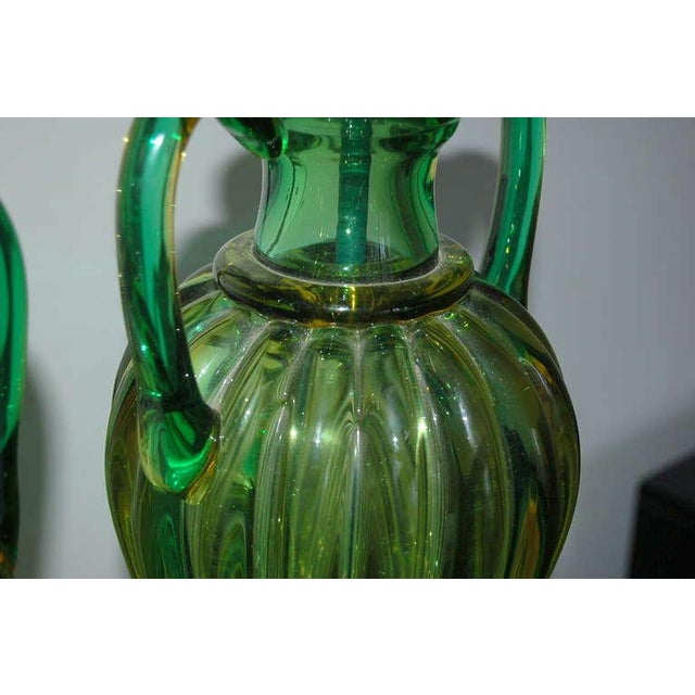 Glass Marbro Murano Glass Table Lamps Green For Sale - Image 7 of 10
