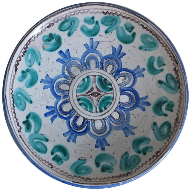 Mid 20th Century Midcentury Blue and Green Ceramic Dish or Plate With Geometrical Motifs For Sale - Image 5 of 5