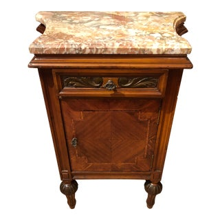 1920s Art Deco Mahogany Inlay and Marble Top Nightstand For Sale