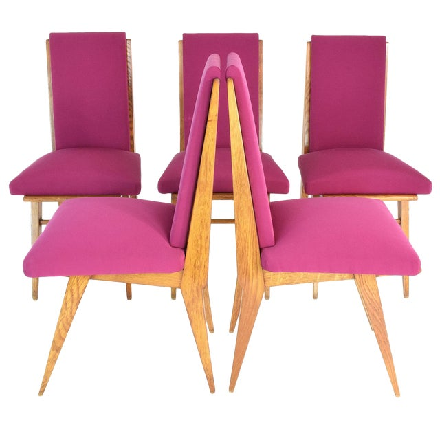 French Art Deco Dining Chairs, Set of Five, 1940s For Sale