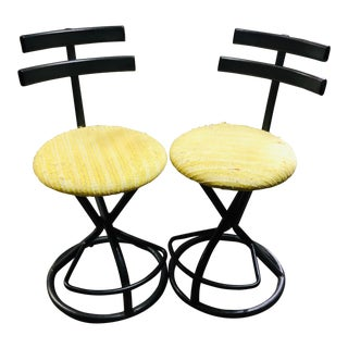 1980s Vintage Wrought Iron Set Bar Stools- a Pair For Sale