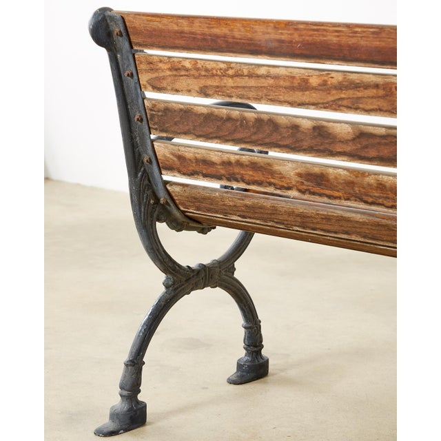 Neoclassical Style Cast Iron and Wood Park Bench For Sale - Image 11 of 13