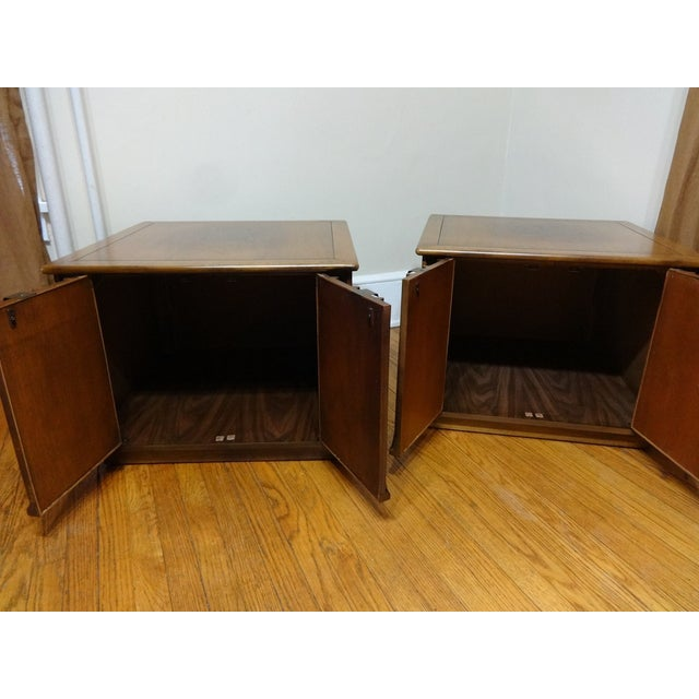 Mid Century Modern Sculpted End Table Cabinets. End tables are in excellent condition! Very sturdy and doors operate...