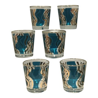 Mid Century Teal Blue & Gold Whisky Glasses - Set of 6