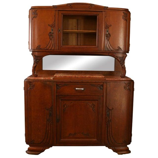 1920s Antique Art Deco Oak Buffet For Sale