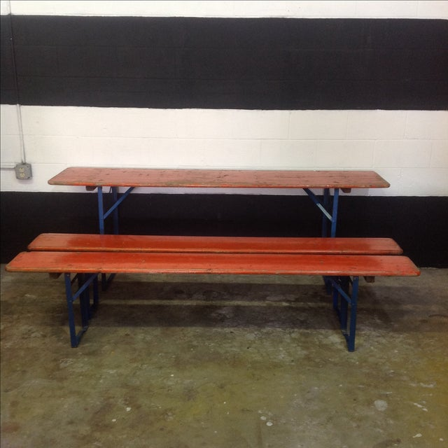 This set is rumored to have come straight from a Biergarten in Munich! It has a distressed orange painted top with blue...
