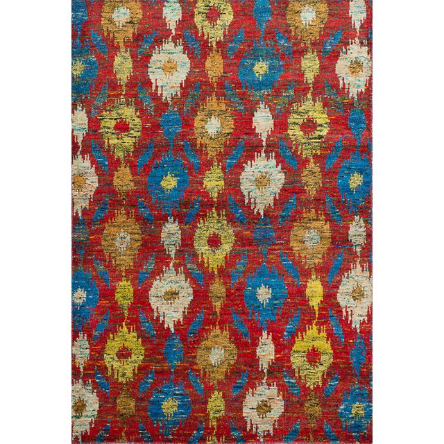 "Hand-Knotted Sari Silk Indian Rug - 5'4"" X 7'10"" - Image 1 of 2"