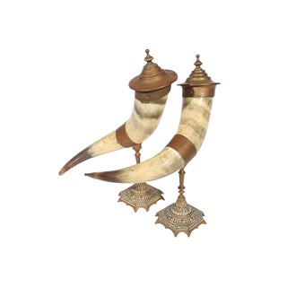 Victorian Brass Drinking Horns- A Pair