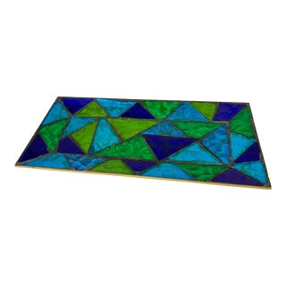 Vintage Blue Green Glass Mosaic Artisan Catchall For Sale