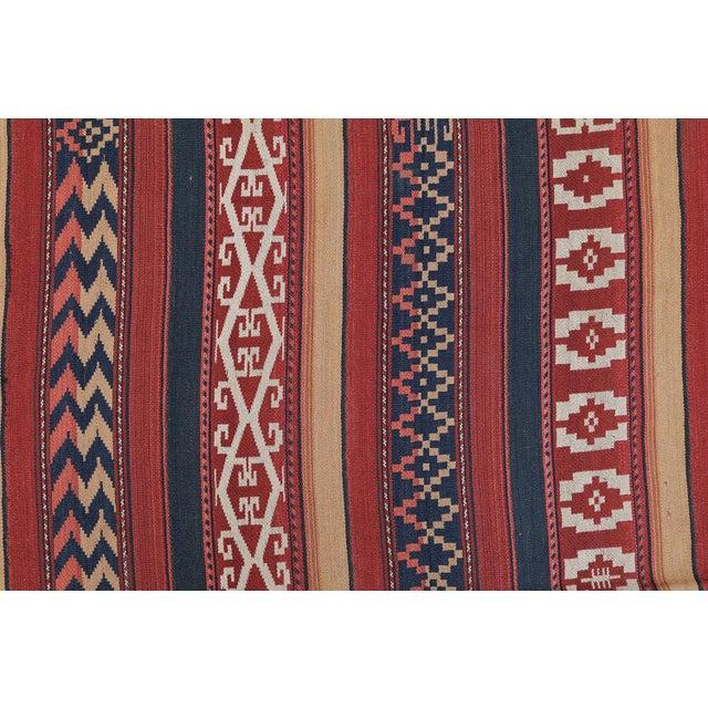 """Vintage Afghan Tribal Striped Flat-Weave Wool Rug - 4'7"""" X 9'5"""" - Image 2 of 4"""