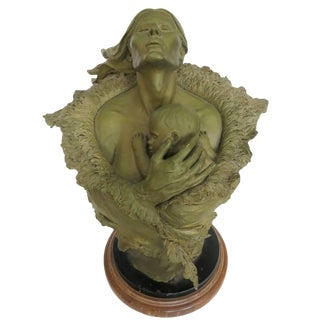 Rare Mother and Child Sculpture Bust by Joe Slockbower for Mill Creek Studios For Sale